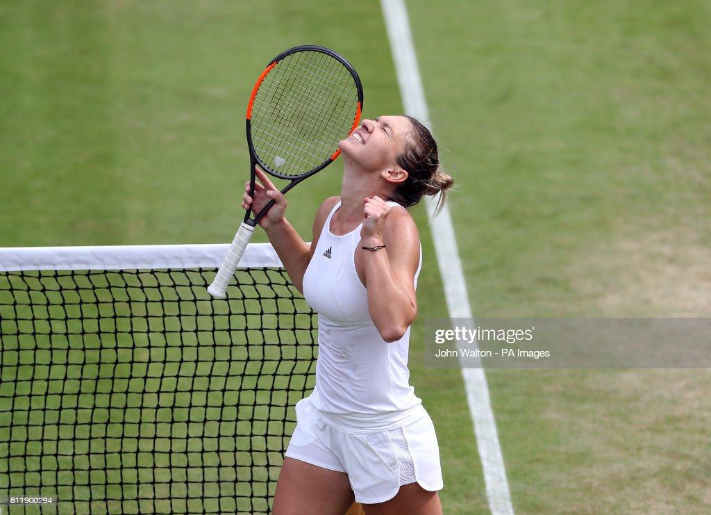 Simona Halep celebrates beating Victoria Azarenka on day seven of the Wimbledon Championships at The All England Lawn Tennis and Croquet Club, Wimbledon.
