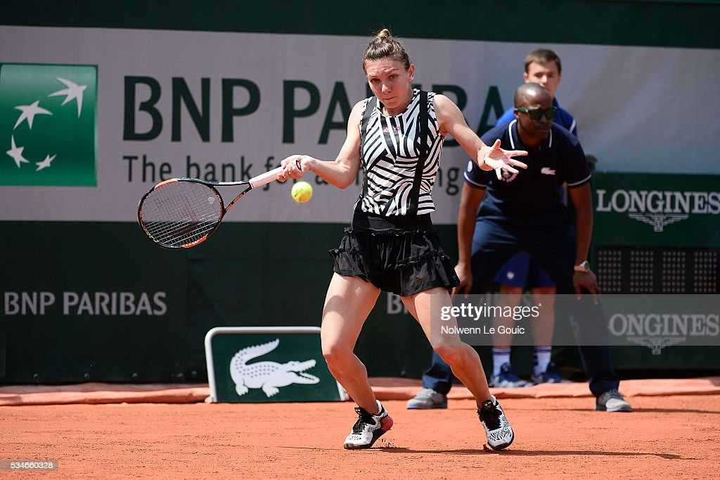 Simona Halep during the Women's Singles third round on day six of the French Open 2016 at Roland Garros on May 27, 2016 in Paris, France.