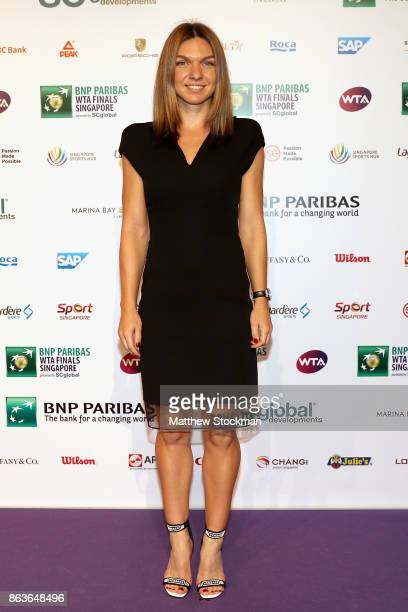 Simona Halep of Romania arrives for the Official Draw Ceremony and Gala of the BNP Paribas WTA Finals Singapore presented by SC Global at Marina Bay...