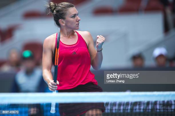 Simona Halep of Romania celebrates a point during the Women's singles Quarterfinals match against Daria Kasatkina of Russia on day seven of 2017...