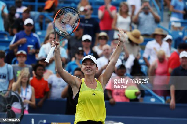 Simona Halep of Romania celebrates after defeating Sloane Stephens during Day 8 of the Western and Southern Open at the Linder Family Tennis Center...