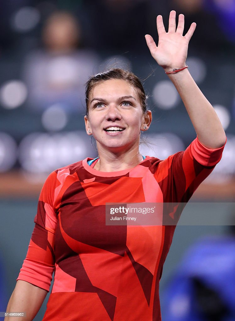 Simona Halep of Romania celebrates defeating Vania King of USA during day five of the BNP Paribas Open at Indian Wells Tennis Garden on March 11 2016...