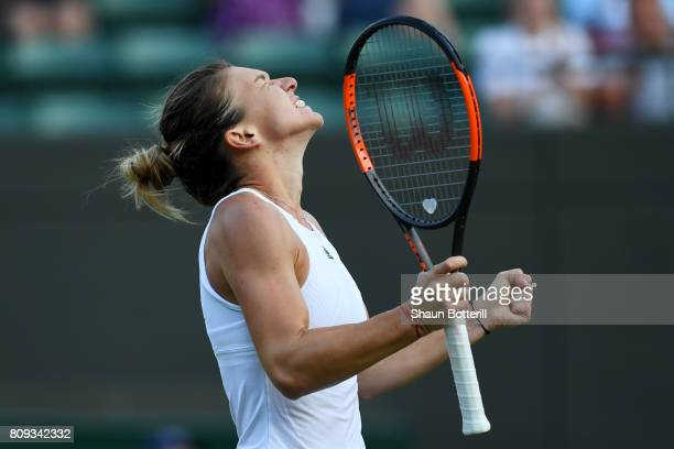 Simona Halep of Romania celebrates victory after her Ladies Singles second round match against Beatriz Haddad Maia of Brazil on day three of the...