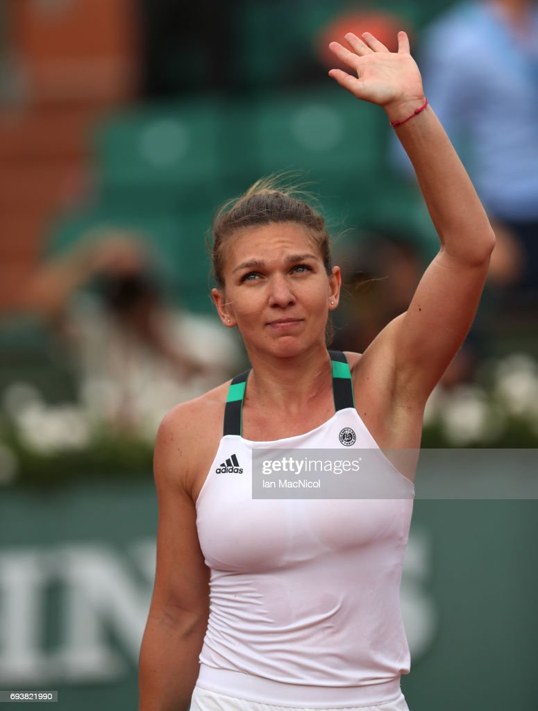 Simona Halep of Romania celebrates victory during her match with Karolina Pliskova of Czech Republic, during day twelve at Roland Garros on June 8, 2017 in Paris, France.