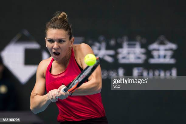 Simona Halep of Romania competes during the Women's singles quarterfinal match against Daria Kasatkina of Russia on day seven of the 2017 China Open...