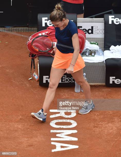 Simona Halep of Romania during the women's semifinal match between Simona Halep of Romania and Kiki Bertens of the Netherlands during The...