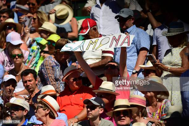 A Simona Halep of Romania fan holds up a hand made banner during day 14 of the French Open at Roland Garros on June 10 2017 in Paris France