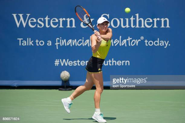 Simona Halep of Romania hits a backhand during the ladies finals in the Western Southern Open on August 20 2017 at the Lindner Family Tennis Center...