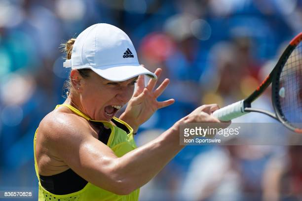 Simona Halep of Romania hits a forehand during the ladies finals in the Western Southern Open on August 20 2017 at the Lindner Family Tennis Center...