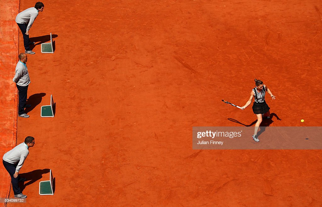 <a gi-track='captionPersonalityLinkClicked' href=/galleries/search?phrase=Simona+Halep&family=editorial&specificpeople=4835837 ng-click='$event.stopPropagation()'>Simona Halep</a> of Romania hits a forehand during the Ladies Singles second round match against Zarina Diyas of Kazakhstan at Roland Garros on May 25, 2016 in Paris, France.