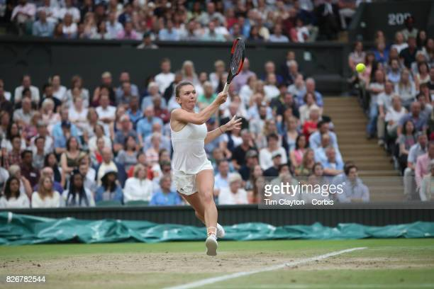 Simona Halep of Romania in action against Johanna Konta of Great Britain in the Ladies' Singles Quarter Final match on Center Court during the...