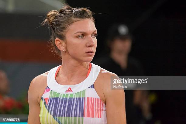 Simona Halep of Romania in action against Sam Stosur of Australia in the semi finals during day seven of the Mutua Madrid Open tennis tournament at...