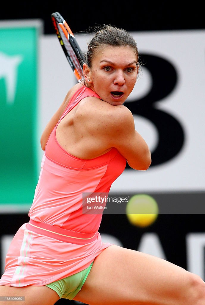 <a gi-track='captionPersonalityLinkClicked' href=/galleries/search?phrase=Simona+Halep&family=editorial&specificpeople=4835837 ng-click='$event.stopPropagation()'>Simona Halep</a> of Romania in action during her match against Alexandra Dulgheru of Romania on Day Six of the The Internazionali BNL d'Italia 2015 on May 15, 2015 in Rome, Italy.