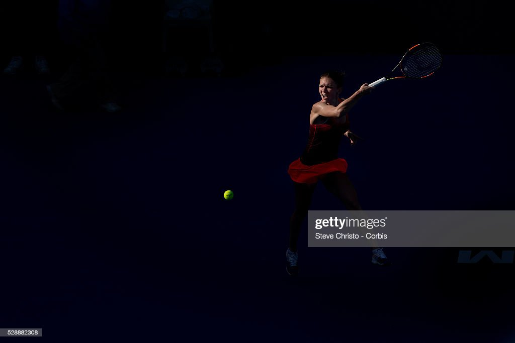 Simona Halep of Romania in action during her match against Czech Repubic's Karolina Pliskova on Ken Rosewall Arena at the Apia International Sydney...