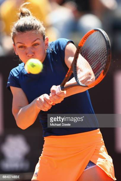 Simona Halep of Romania in action during her second round match against Laura Siegemund of Germany on Day Four of The Internazionali BNL d'Italia...