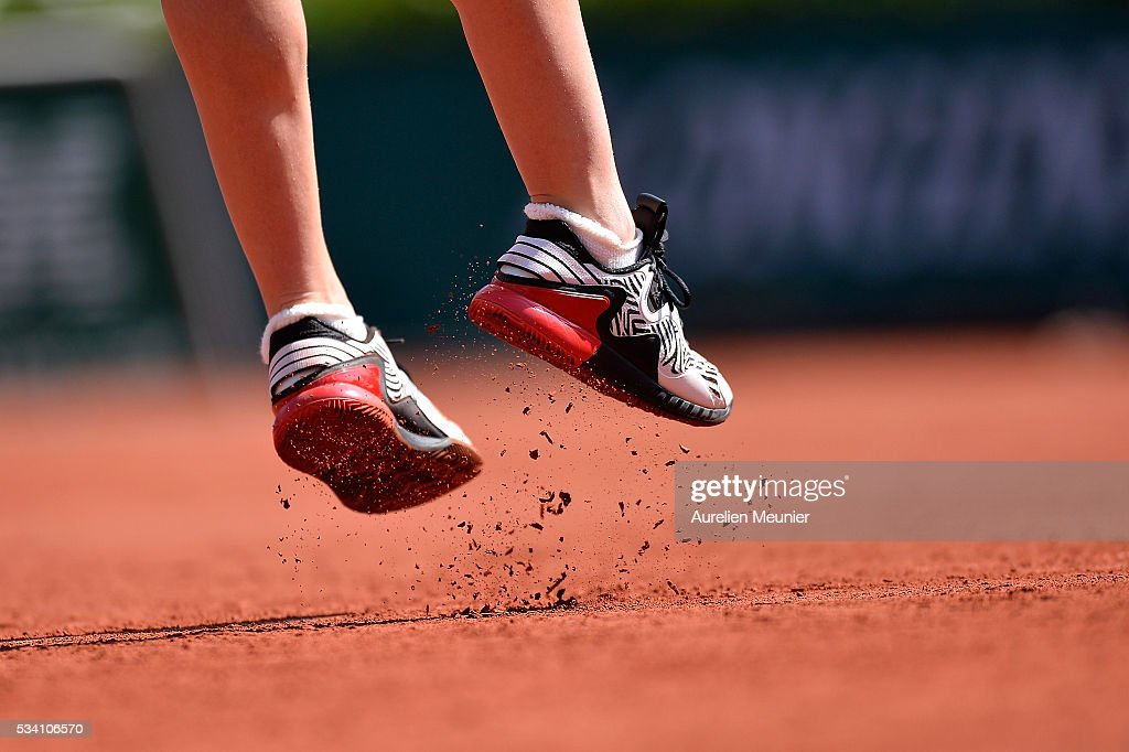 <a gi-track='captionPersonalityLinkClicked' href=/galleries/search?phrase=Simona+Halep&family=editorial&specificpeople=4835837 ng-click='$event.stopPropagation()'>Simona Halep</a> of Romania in action during her women's single second round match against Zarina Diyas of Kazakhstan on day four of the 2016 French Open at Roland Garros on May 25, 2016 in Paris, France.
