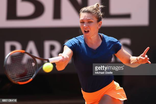 Simona Halep of Romania in action during the women's quarterfinal match against Anett Kontaveit of Estonia on Day Six of the Internazionali BNL...