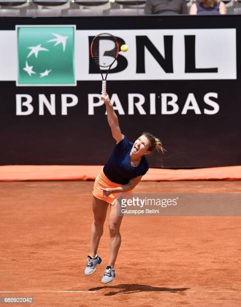 Simona Halep of Romania in action during the women's semifinal match between Simona Halep of Romania and Kiki Bertens of the Netherlands during The...