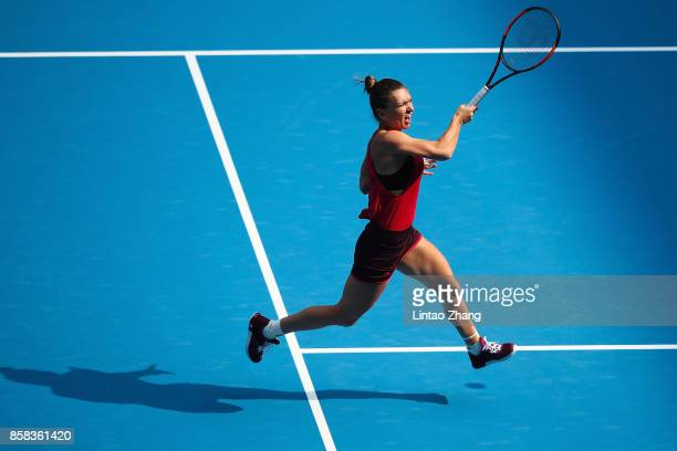 Simona Halep of Romania in action during the Women's singles Quarterfinals match against Daria Kasatkina of Russia on day seven of 2017 China Open at...