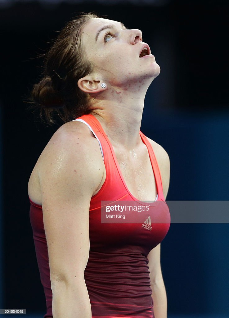 Simona Halep of Romania looks dejected after losing a point in her match against Caroline Garcia of France during day three of the 2016 Sydney International at Sydney Olympic Park Tennis Centre on January 12, 2016 in Sydney, Australia.