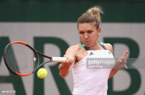 Simona Halep of Romania plays a forehand during the ladies singles third round match against Daria Kasatkina of Russia on day seven of the 2017...
