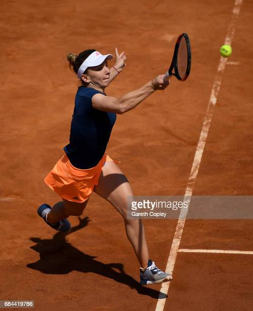 Simona Halep of Romania plays a shot during her 3rd round match against Anastasia Pavlyuchenkova of Russia in The Internazionali BNL d'Italia 2017 at...