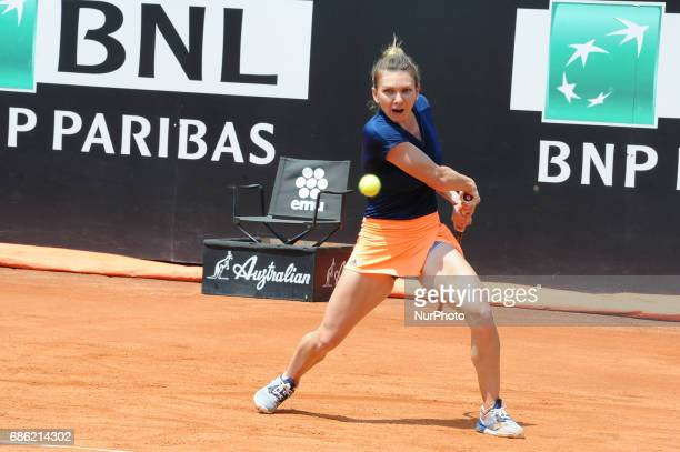 Simona Halep of Romania plays a shot during her semi final match against Kiki Bertens in The Internazionali BNL d'Italia 2017 at Foro Italico on May...