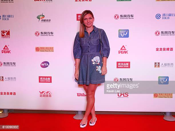 Simona Halep of Romania poses for a picture at DongFeng Motor Wuhan Open Player Party at Wanda Realm Hotel on September 24 2016 in Wuhan China