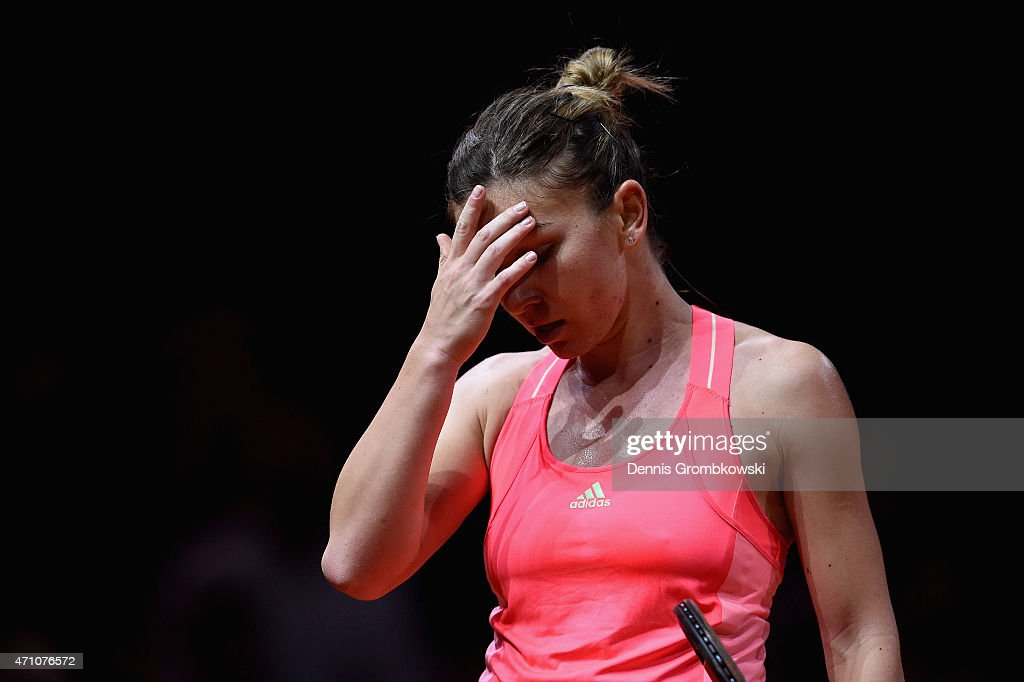 <a gi-track='captionPersonalityLinkClicked' href=/galleries/search?phrase=Simona+Halep&family=editorial&specificpeople=4835837 ng-click='$event.stopPropagation()'>Simona Halep</a> of Romania reacts during her semi final match against Caroline Wozniacki of Denmark during Day 6 of the Porsche Tennis Grand Prix on April 25, 2015 in Stuttgart, Germany.