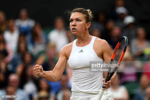 Simona Halep of Romania reacts during the Ladies Singles quarter final match against Johanna Konta of Great Britain on day eight of the Wimbledon...