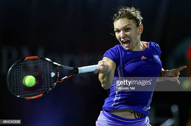 Simona Halep of Romania reacts in action against Karolina Pliskova of the Czech Republic during their women's final match of the WTA Dubai Duty Free...