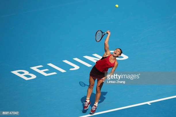Simona Halep of Romania returns a shot during the Women's singles Quarterfinals match against Daria Kasatkina of Russia on day seven of 2017 China...