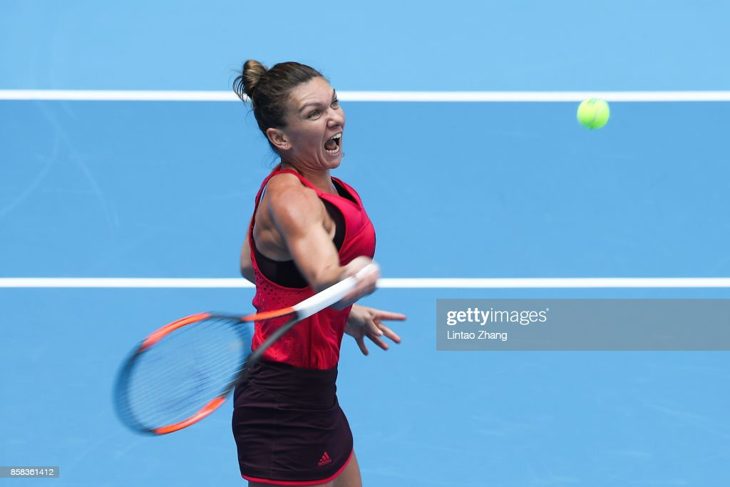 Simona Halep of Romania returns a shot during the Women's singles Quarterfinals match against Daria Kasatkina of Russia on day seven of 2017 China Open at the China National Tennis Centre on October 6, 2017 in Beijing, China.