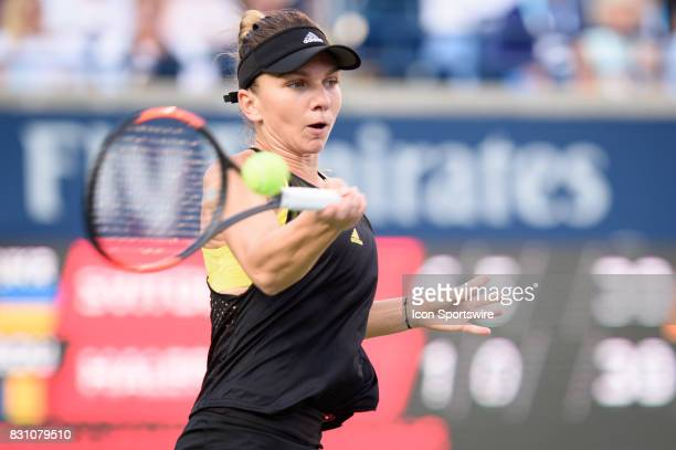 Simona Halep of Romania returns the ball during her semifinals match of the 2017 Rogers Cup tennis tournament on August 12 at Aviva Centre in Toronto...