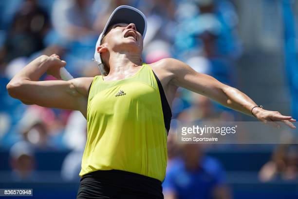 Simona Halep of Romania serves during the ladies finals in the Western Southern Open on August 20 2017 at the Lindner Family Tennis Center in...