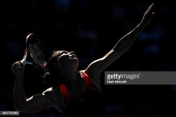 Simona Halep of Romania serves in her match against Karolina Pliskova of the Czech Republic during day four of the Sydney International at Sydney...