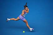 Simona Halep of Romaniaplays a backhand in her quarterfinal match against Ekaterina Makarova of Russia during day nine of the 2015 Australian Open at...