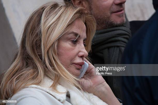 Simona Izzo during the funeral of Monica Scattini at the church of Santa Maria in Trastevere Present many personalities from the entertainment world