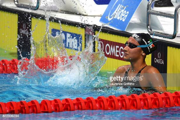 Simona Quadarella of Italy celebrates after winning the bronze medal during the Women's 1500m Freestyle final on day twelve of the Budapest 2017 FINA...