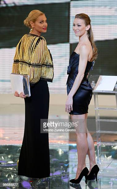 Simona Ventura and Elenonora Abbagnato attend 'L'Isola Dei Famosi' Italian Tv Show held at Rai Studios on April 26 2010 in Milan Italy