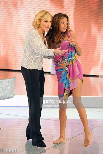 Simona Ventura and Giorgia Palmas attend 'L'Isola Dei Famosi' The Final on April 26 2011 in Milan Italy
