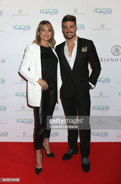 Simona Ventura and Mariano Di Vaio attend a party for Mariano Di Vaio's blog on February 22 2017 in Milan Italy