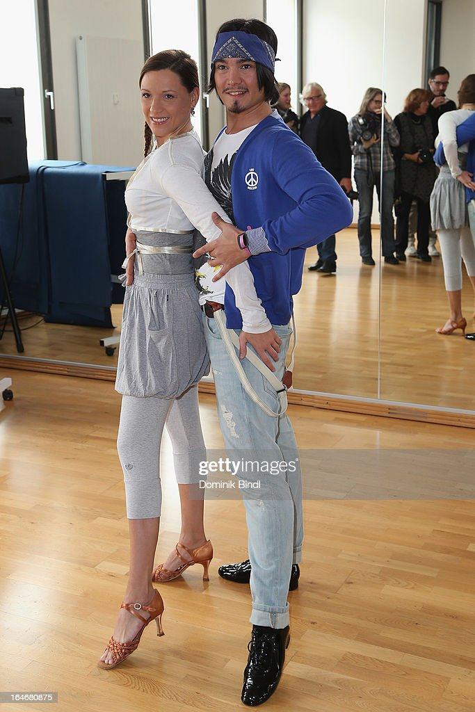 Simone Ballack and Erich Klann pose at a photo call for the sixth season on Germany's RTL network competition 'Let's Dance' on March 26, 2013 in Starnberg, Germany.