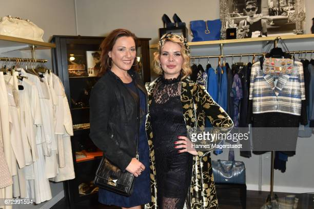 Simone Ballack and Julia K owner Kunst and Kleid during the 'Kunst Kleid' fashion cocktail on April 25 2017 in Munich Germany