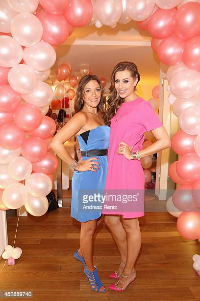 Simone Ballack and Verena Kerth attend the reception 'Baby shower for Barbara Sturm' on July 29 2014 in Duesseldorf Germany