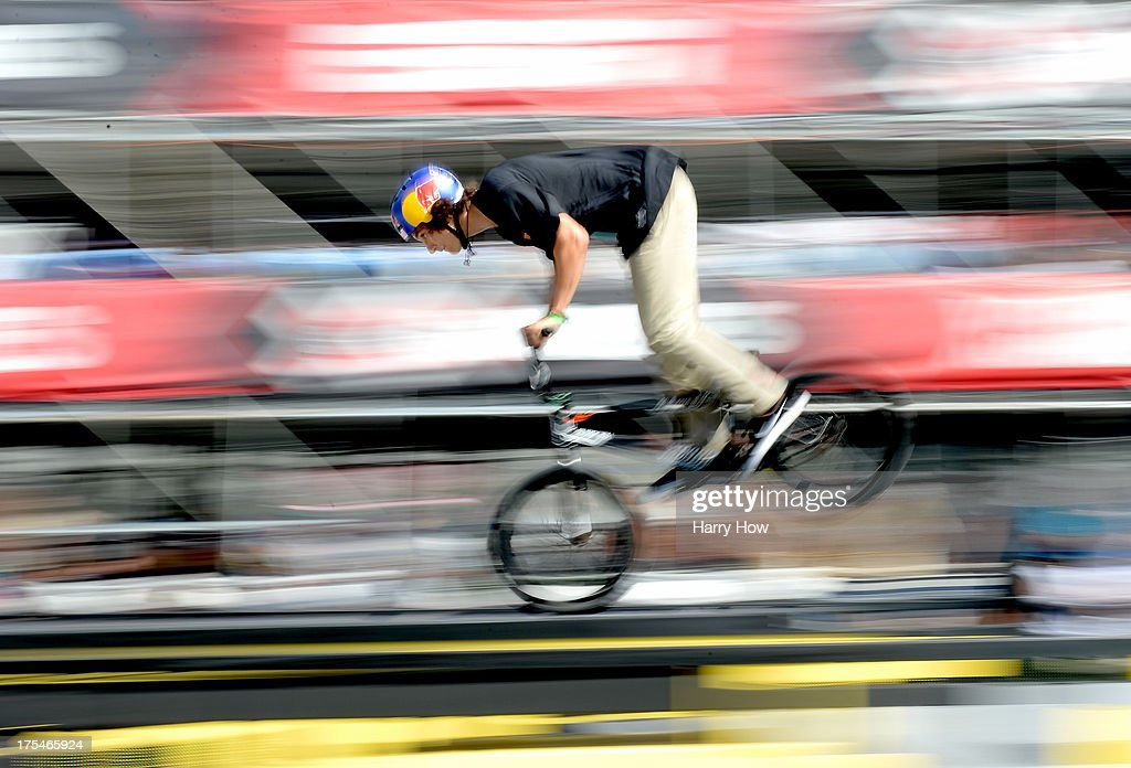 Simone Barraco of Italy competes in the BMX Steet Final during X Games Los Angeles at the Event Deck at L. A. Live on August 3, 2013 in Los Angeles, California.