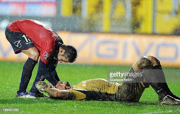 Simone Benedetti and Antonio Donnarumma of Gubbio celebrate the victory after the Serie B match between AS Gubbio and Calcio Padova at Stadio Pietro...