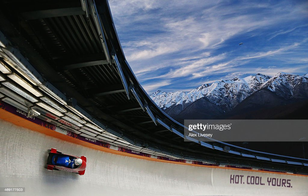 Simone Bertazzo of Italy pilots a run during a Men's Twoman Bobsleigh training session on day 6 of the Sochi 2014 Winter Olympics at the Sanki...