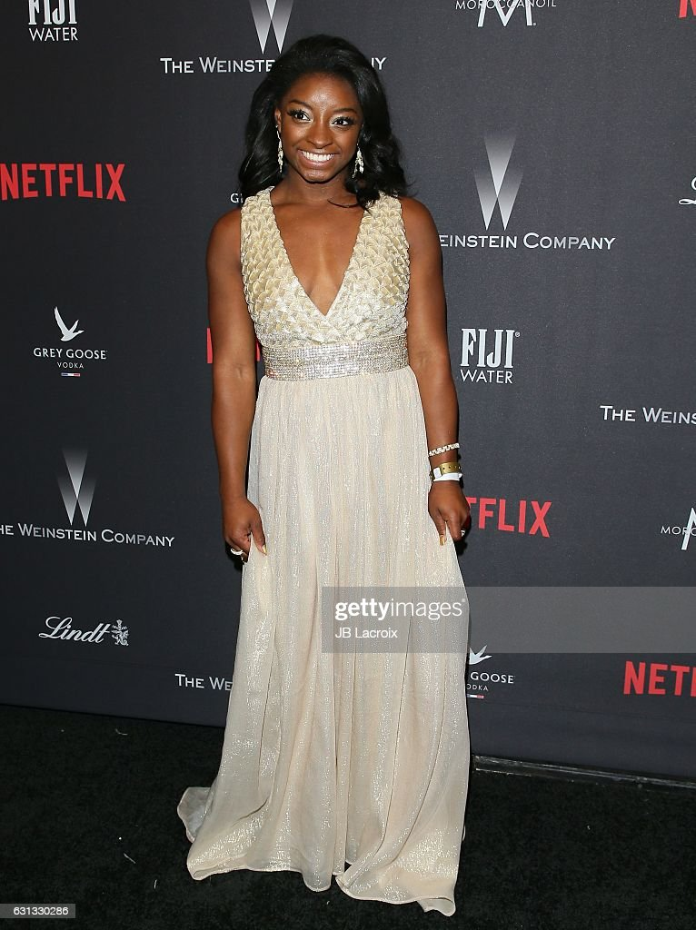 Simone Biles attends The Weinstein Company and Netflix Golden Globe Party, presented with FIJI Water, Grey Goose Vodka, Lindt Chocolate, and Moroccan Oil at The Beverly Hilton Hotel on January 8, 2017 in Los Angeles, California.