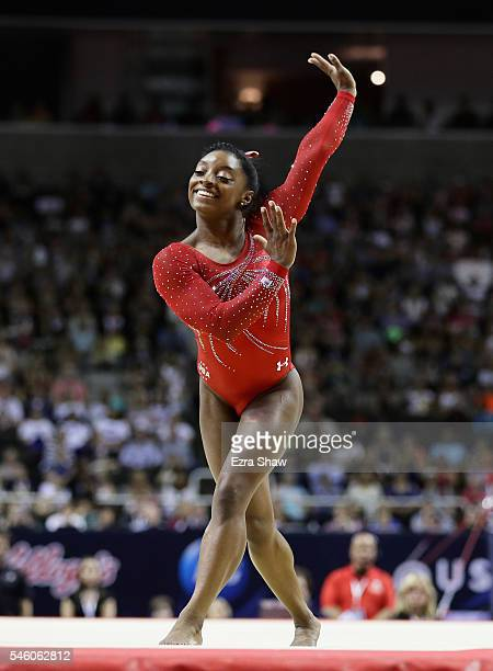 Simone Biles competes in the floor exercise during Day 2 of the 2016 US Women's Gymnastics Olympic Trials at SAP Center on July 10 2016 in San Jose...